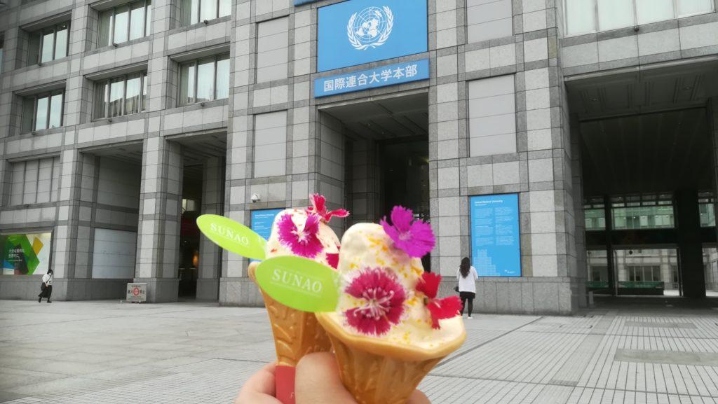 国連大学の前までもってきたら少し溶けた。