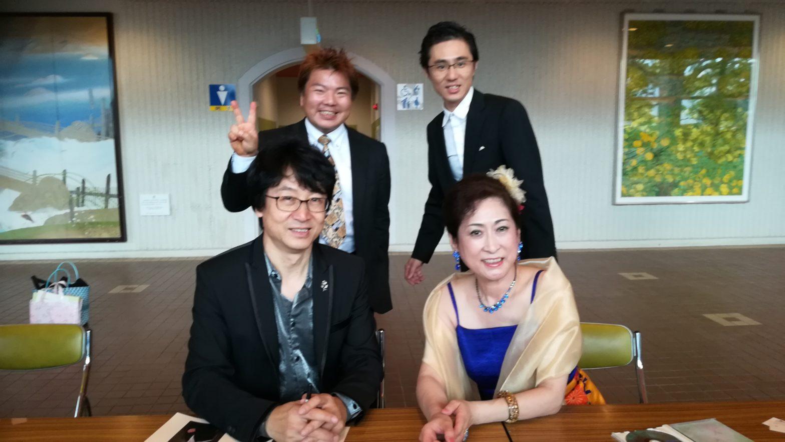 榊原平、ピアニスト北川美晃、二胡奏者ジャー・パンファンさん、ソプラノ下垣真希さんの松阪でのコンサート
