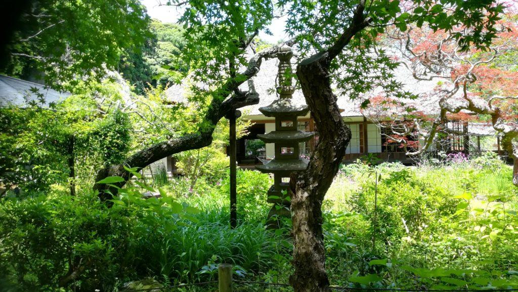 灯篭のある庭園と建物