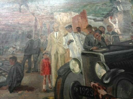 有島画伯の《震災記念》白いスーツの外国人男性は当時のバッソンピエール日本駐在ベルギー大使(初代駐日ベルギー大使)