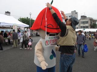 ゆるキャラのサルビーに扮する安城サンクスフェスティバル2009