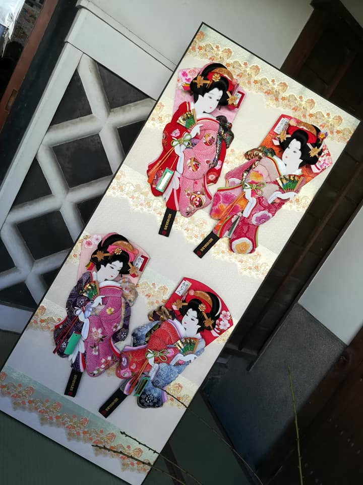 羽子板 新春に旧東海道 有松 を散策する