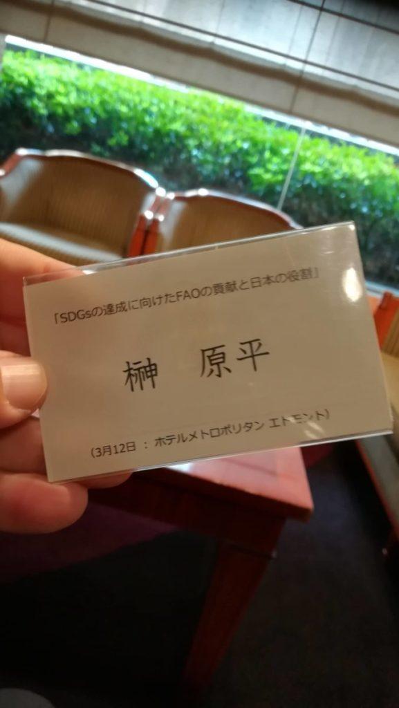 SDGsの達成に向けたFAOの貢献と日本の役割 3月12日 ホテルメトロポリタン エドモント 榊原平