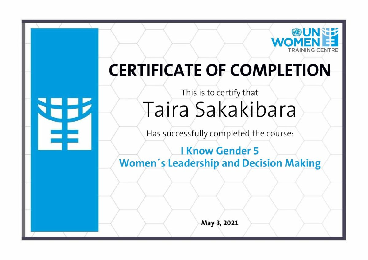 Certificate Module 5 Women´s Leadership and Decision Making
